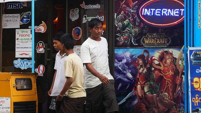 Myanmar has lots of Internet cafes. The connections are just brutally slow. Mobile phones are more popular than the Internet. In June, US$15 SIM cards for mobile phones are expected to be made available to foreigners.