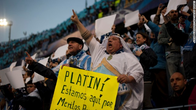 Malaga fans protested against UEFA president Michel Platini over threats to refuse the club permission to play in European competition. The protests were ignored and despite appeals to the Court of Arbitration for Sport, Malaga was handed a one-year ban.