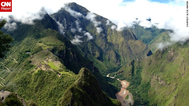 This photo of Machu Picchu (at left) and its surrounding peaks was taken from Huayna Picchu, which towers over the ancient Incan site.