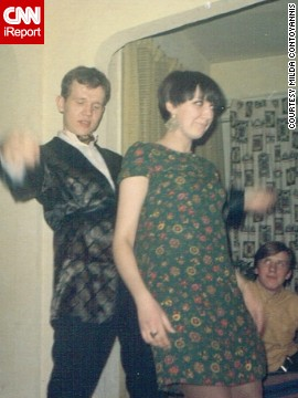 "Milda Contoyannis and her friend show off their dance moves at a house party in 1967. She wore her favorite minidress, and her friend wore a jacket and an ascot tie. ""Nothing compares to the '60s,"" Contoyannis says. ""You had to be there when it was happening."""
