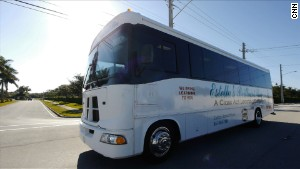 Estella\'s Brilliant Bus travels to schools, shelters and community centers throughout Palm Beach County, Florida.