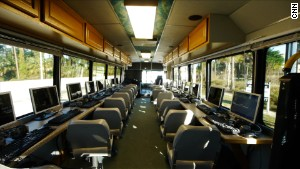 The custom-designed bus is outfitted with 17 computer stations that are connected to high-speed Internet via satellite.