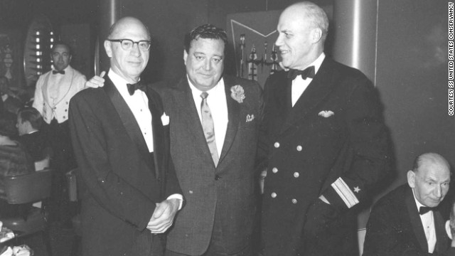 Entertainer Jackie Gleason, center, hangs out aboard the SS United States in this undated photo.