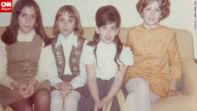 "<a href='http://ireport.cnn.com/docs/DOC-951774'>Marjorie Zien</a>, second from left, was 10 years old in 1967 when this photo was taken at her Aunt Fran's annual New Year's Eve party. She wore her ""really cool mirrored vest"" her uncle brought back from Pakistan and a handmade A-line skirt. Her sister, far right, sported a Nehru collar dress accessorized with a medallion necklace."