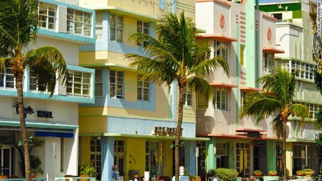 The Technicolor of South Beach's art deco buildings will entertain anyone driving along Ocean Drive in Miami.
