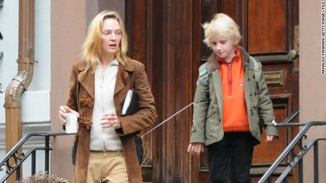 At 42, Uma Thurman welcomed her first child with Arpad Busson, Rosalind Arusha Arkadina Altalune Florence Thurman-Busson, in 2012. (But you can call her Luna for short.) Thurman also has two children with Ethan Hawke. She is pictured here with son Levon Hawke.