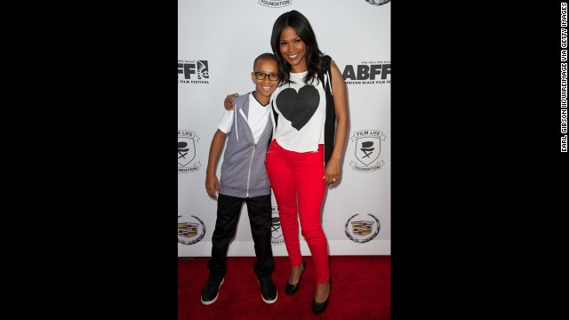 At 41, Nia Long welcomed her second child in November 2011. Long is shown here with her first child, Massai Dorsey II.