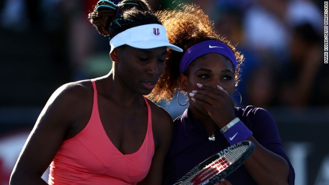 Serena Williams, right, pictured with her sister Venus during a doubles match af the Australian Open in January.
