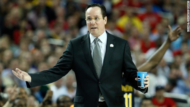 Head coach Gregg Marshall of Wichita State reacts in the first half.