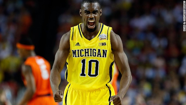 Tim Hardaway Jr. of Michigan reacts in the first half.