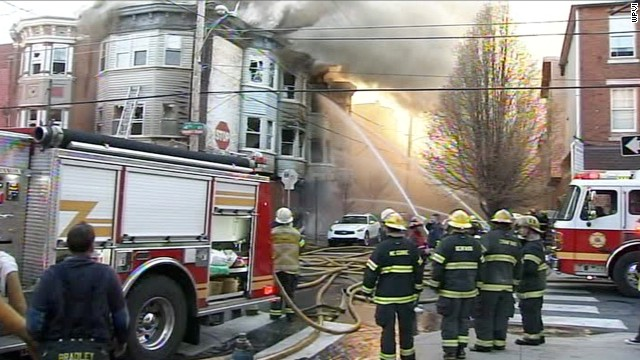 Philadelphia firefighters battle a blaze that took the life of a fire captain Saturday evening.