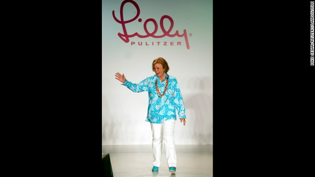 "Designer Lilly Pulitzer died on Sunday, April 7, at the age of 81, according to her company's Facebook page. The Palm Beach socialite was known for making sleeveless dresses from bright floral prints that became known as the ""Lilly"" design. Pictured, Pulitzer waves to the audience after the showing of her Spring 2003 collection."