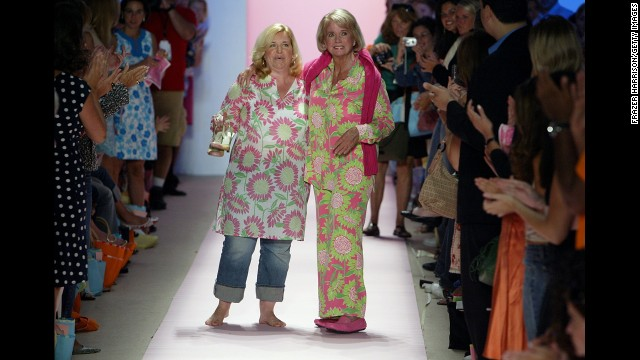 Designer Lilly Pulitzer, right, died on April 7 at age 81, according to her company's Facebook page. The Palm Beach socialite was known for making sleeveless dresses from bright floral prints that became known as the &quot;Lilly&quot; design. 