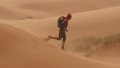 A competitor crosses the erg Znaigui during the second stage of the 26rd edition of the 'Marathon des Sables', on April 4, 2011, some 300 Kilometers, South of Ouarzazate in Morocco. The marathon is considered one of the hardest in the world, with 900 participants having to walk 250 kms (150 miles) for seven days in the Moroccan Sahara.