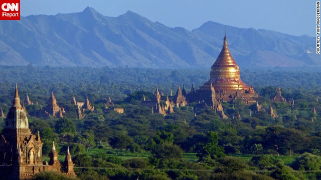 Temples and pagodas fill the peaks and valleys of Myanmar. This image was captured from the top of <a href='http://ireport.cnn.com/docs/DOC-882709'>Shwesandaw Pagoda</a>.