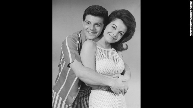 "Funicello and Frankie Avalon, here in 1962, co-starred in several films together, including ""Beach Party,"" ""Muscle Beach Party"" and ""Bikini Beach."""