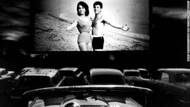 "Funicello and Avalon appear in ""Beach Blanket Bingo,"" shown at a drive-in movie theater."