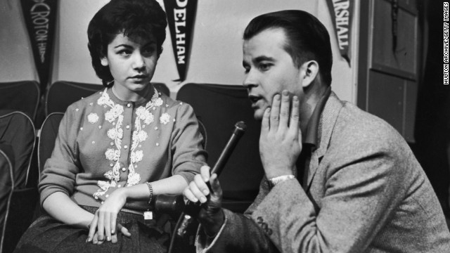 "'""American Bandstand"" host Dick Clark interviews Funicello in the mid-1950s. With a background in dance, she quickly became one of the most popular Mouseketeers.<!-- --> </br>"