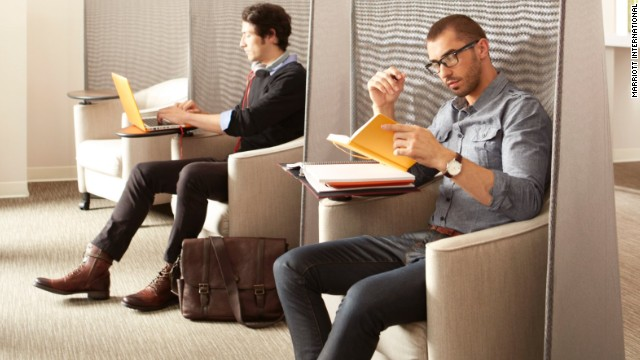 Individuals who need a quiet place to work can book space at Marriott by the hour through LiquidSpace.com