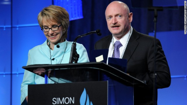 Giffords and Kelly speak at the Simon Wiesenthal Center's annual tribute dinner, where they received Medals of Valor on May 23, 2012, in Beverly Hills, California.