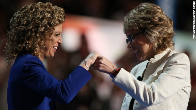 Schultz and Giffords greet each other on stage at the Democratic National Convention in Charlotte on September 6, 2012.