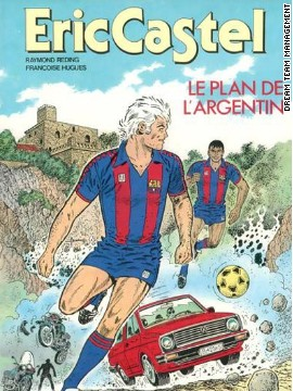 "Reding's 1986 cover ""Le Plan de l'Argentin"" (""The Argentine's plan""). Frenchman Reding was born in 1920, but grew up in Belgium. He had a number of different jobs -- including one as a jazz pianist -- before he began drawing and writing."