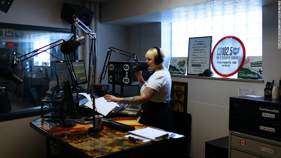 Radio host Rachael Gordon talks on-air from the CD102.5 studios in Columbus, Ohio. <a href='http://cd1025.com/' target='_blank'>WWCD-FM</a> is a rarity in today's world of radio, an independently operated and locally owned commercial music station.