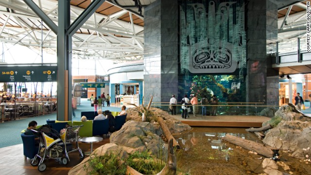 The only North American airport to make the top ten, Vancouver International, plays host to all manner of idiosyncratic amenities including a 114-000 liter aquarium and an indoor creek.