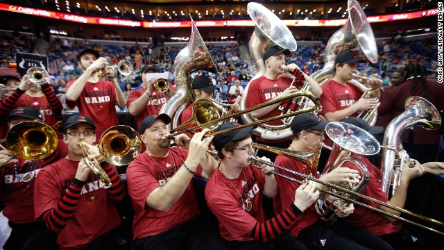 Members of the Louisville Cardinals band perform on April 9 during the game against the Connecticut Huskies in New Orleans.