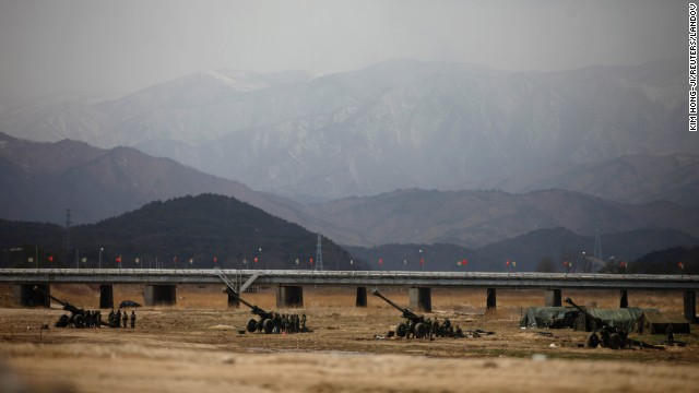 South Korean soldiers participate in an artillery drill as part of the Foal Eagle joint military exercise by U.S. and South Korean forces near the Demilitarized Zone in Goseong on April 9.