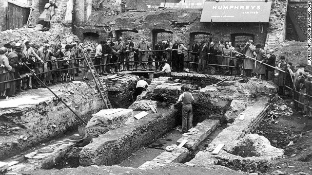 The first excavation of the Temple of Mithras excavation in 1954 by eminent archaeologist W.F. Grimes. The discovery was perhaps the most famous excavation of the 20th century, with hundreds of thousands of people flocking to see the work unfold.