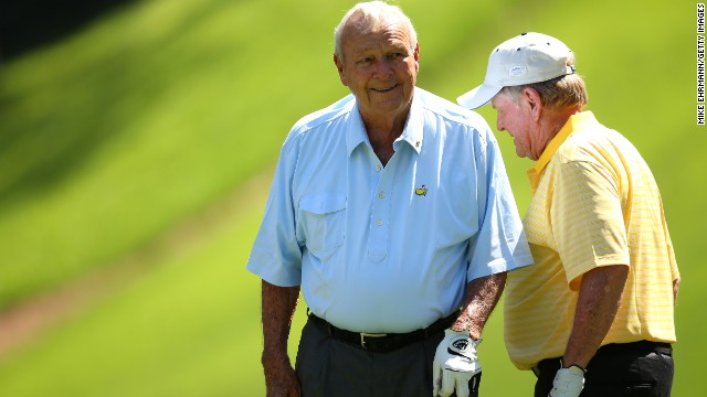 Jack Nicklaus, right, and Arnold Palmer share a laugh during the Par 3 Contest.