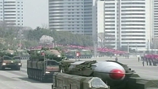 North Korean missile in upright firing position, official says