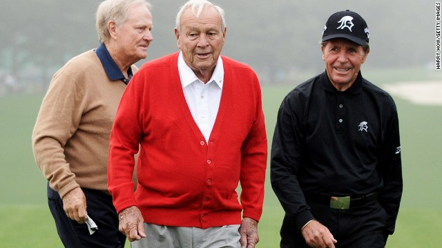 Honorary starters Jack Nicklaus, left, Arnold Palmer and Gary Player on the course before they tee off.