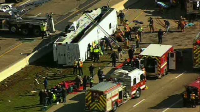 A charter bus turned over on the highway on Thursday, April 11