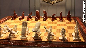 This grisly chess set was a gift from leading Nazi Heinrich Himmler to Anton Mussert, a senior figure in the Dutch National Socialist party.