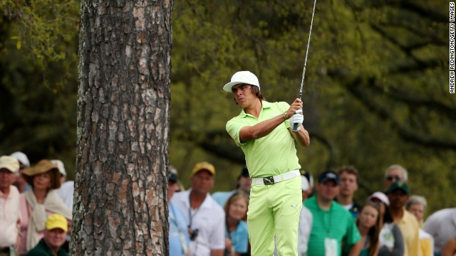 You'd be hard-pressed to miss Rickie Fowler on the course in his neon threads. His outfits are color-coordinated, from flat-bill cap to footwear, as seen here during the first round of the 2013 Masters. Fowler is an official sponsor of the sportswear line Puma.