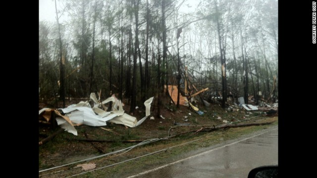 Storm damage in Shuqualak, Mississippi, on April 11.