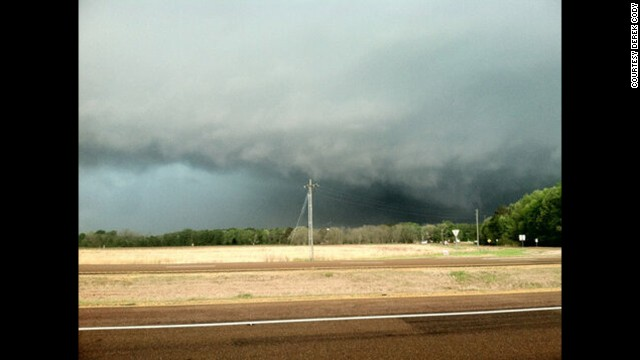 A storm brews over Shuqualak, Mississippi, on Thursday, April 11. Severe storms killed two people in Mississippi and injured others.