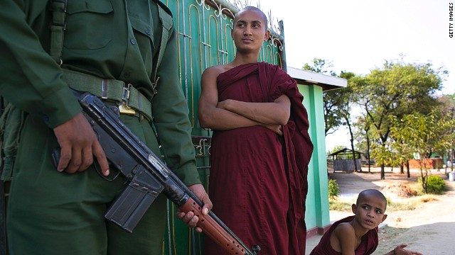 Buddhists monks in Meiktila, Myanmar, where violence between Muslims and Buddhists left 43 dead last month