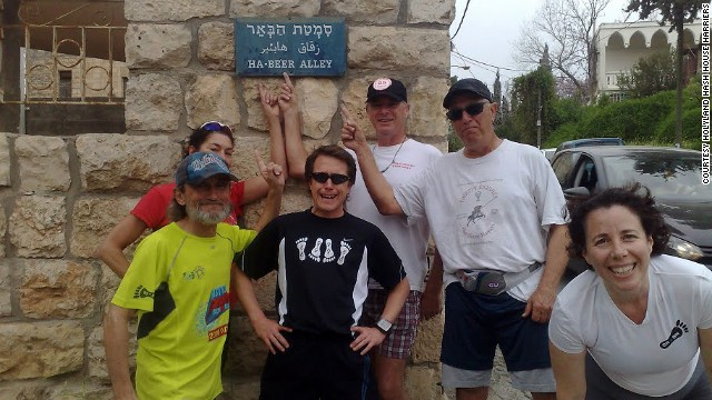Holyland hashers Paul Rokach, Margaret Ben-Shoshan, Scott Horton, Kelvin Williams, Chaim Daon and Rachel Neiman pose on an aptly named street in Ein Karem, Israel.