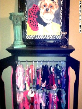 Paisley has her own closet, filled with clothes.
