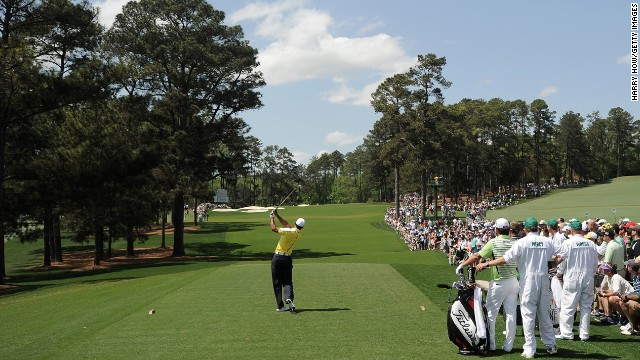 Tiger Woods plays his tee shot on the third hole during the second round.