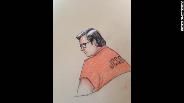 An artist's rendering of Austin Sigg, who faces 18 criminal counts in the death of Jessica Ridgeway.