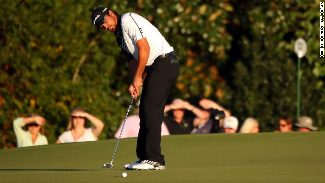 Jason Day of Australia putts on the 17th hole during the second round of the Masters.