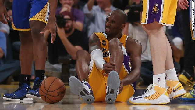 Kobe Bryant of the Los Angeles Lakers is injured in the second half while playing the Golden State Warriors on Friday, April 12. The injury will take Bryant out for the rest of the season.