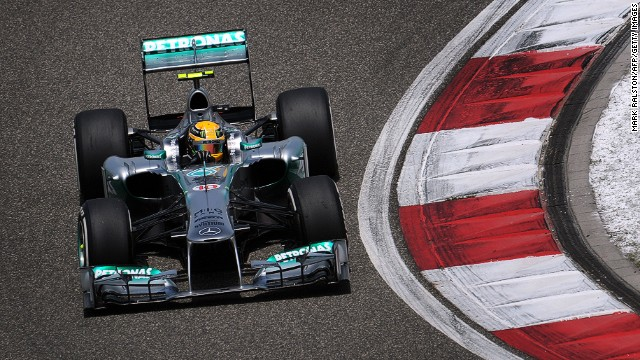 Lewis Hamilton in action at the Shanghai International Circuit during Saturday's qualifying session.