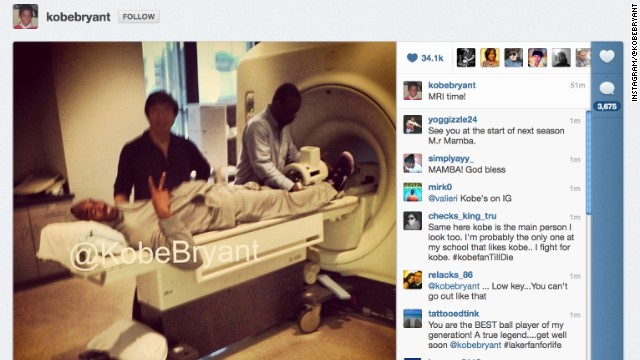 Bryant prepares for an MRI after the injury. He posted the image on his Instagram account.