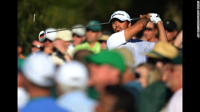 Jason Day of Australia tees off during the third round.