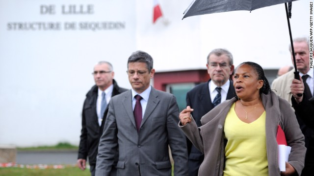 French Justice Minister Christiane Taubira arrives in front of the prison.